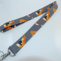 Fabric Lanyard Fox Lanyard Animal Lanyard Teacher Lanyard Nurse Lanyard Foxes Foxy Key Holder ID Badge Holder Work Lanyard Stocking Stuffer