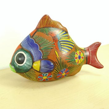 1970s Vintage Coral Reef Fish - Hand Painted Terracotta - Big Eyed Wonder