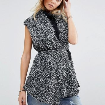 Abercrombie & Fitch Loop Sleeveless Cardigan with Tie Waist at asos.com