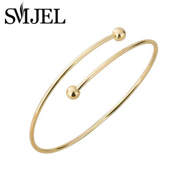 Women's Personality Exaggerated Double Ball Thin Wire Warp Bangle Cuff Bracelet 2016 New Fashion G017