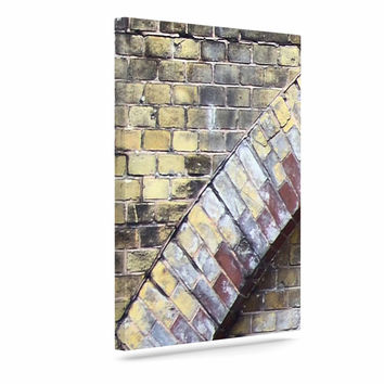 "Susan Sanders ""Painted Grunge Brick Wall"" Grey Yellow Canvas Art"
