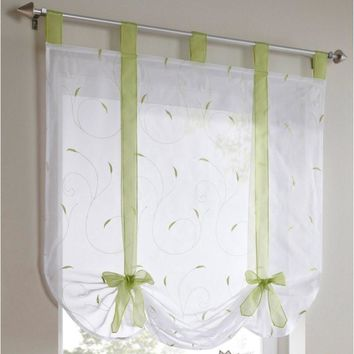 Roman Shade European Embroidery Style Tie Up Window Curtain Kitchen Curtain Voile Sheer Top Streamer Pattern Curtains