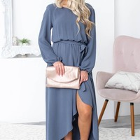 High Low Long Sleeve Dress | Storm Grey