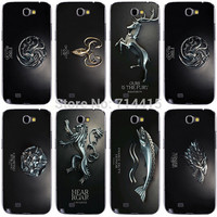 Hot Magic TV Game Thrones Metal color Classical Family Flag Logo Case Cover for Samsung galaxy Note II Note 2 Note2 N7100