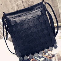 Black Circle Embellished PU Shoulder Bag