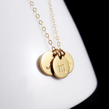 Gold Initials Necklace, Three Small Discs Handstamped Personalized, Sister Mom Aunt Gift, 14kt Gold Filled Minimal, Valetines Mothers Day