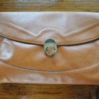 Honey Brown Leather Clutch / 1970s envelope bag purse