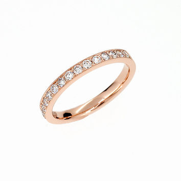 Diamond half eternity wedding ring with milgrain details, unique, rose gold wedding ring, diamond band, anniversary, pave ring, vintage
