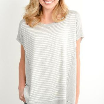 Heather Gray Striped Contrast Top