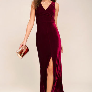 Crushin' It Burgundy Velvet Maxi Dress