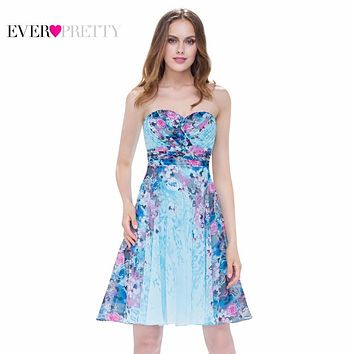 Evening Dress Ever Pretty New Arrival Cute Short  Dress EP05498 Vintage Floral Print Dresses Hot Selling Colorful Formal Dress