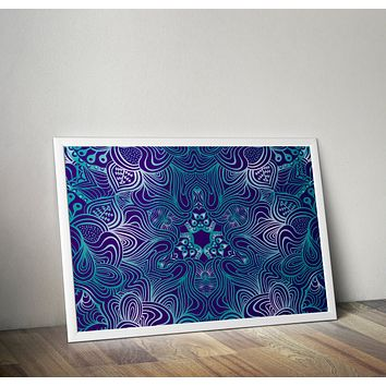 Reiki Charged Teal Mandala Blue Poster Bohemian Art Print Poster  Design no frame 20x30 Large