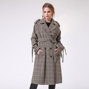 Winter Women Trench Coat Elegant Vintage Houndstooth Thick Park Long Coat Female Casual Belt Ladies Outwear Tweed Coat Talever
