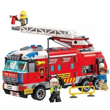 ENLIGHTEN 2018 City Police Firefighter Ladder Fire Truck Car Train Firemen Building Blocks Sets Kids Toys Compatible Legoings