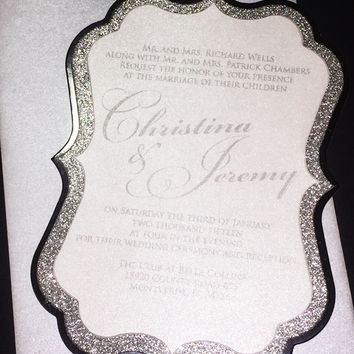 Silver Glitter and Foil Wedding Invitation - CHRISTINA VERSION