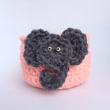 Nursery storage basket, hair clip holder, pink crochet bowl with gray elephant, little girl room decor, baby shower gift, gift basket idea