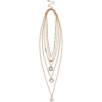 River Island Womens Gold tone layered charm necklace