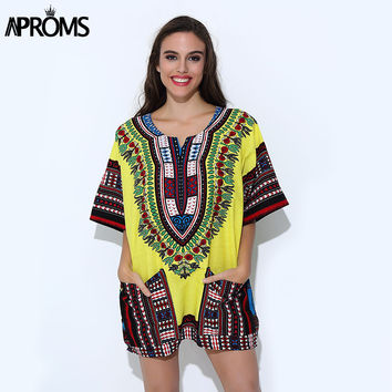 Aproms Unisex Yellow Classic Cotton Dashiki Tops Traditional African Clothing for Women Shirt Plus Size Summer Print Blouses