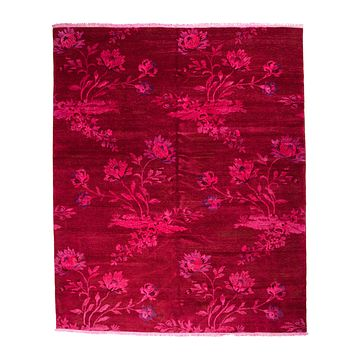 8x10 Over-Dyed Hot Pink & Lavender Floral Design Rug 2635