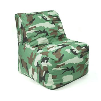 Sectional Denim Look Bean Bag Chair - Camouflage