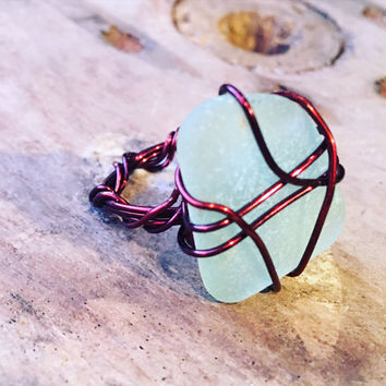 Wire wrapped ring Seaglass ring Beach glass ring Sea Glass Wire Wrapped Ring, Wire Wrapped Sea Glass ring Statement ring Bohemian ring Boho