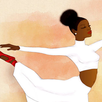Dancer Fashion Illustration Beauty With an Afro Puff Print