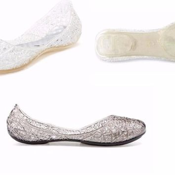 Women's Teens Summer Beach Wedding Outdoor Campana Glitter Flat Ballet Jelly Shoes