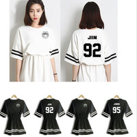 2015 new kpop summer BTS women mini dresses natural lady girl underdresses bts clothing sets women