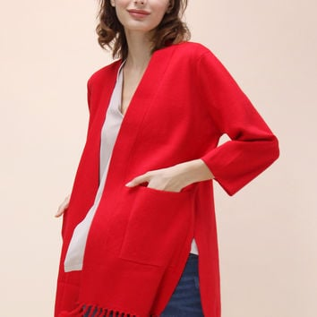 Easy to Be Chic Tassel Trimmed Cardigan in Red