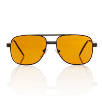 Mens Black Square Filigree Frame Amber Lens Aviator Sunglasses // Redford