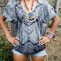 Hand Printed SpellMaya Hippie V-Neck Blouse/ Top.