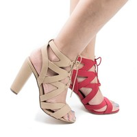 Mazie Natural By Delicious, Cut Out Zig Zag Corset Lace Up Heeled Sandals