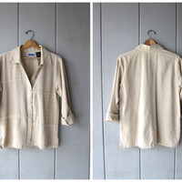 Button Up Cotton Blouse 90s Minimal Natural Beige Blouse Slouchy Button Up Textured Cotton Jacket Top DES Vintage Women's Medium