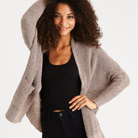 AEO Waffle Knit Boyfriend Cardigan, Light Brown
