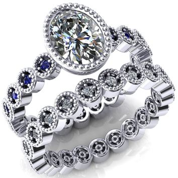Borea Oval Moissanite Full Bezel Milgrain Blue Sapphire Accent Full Eternity Ring