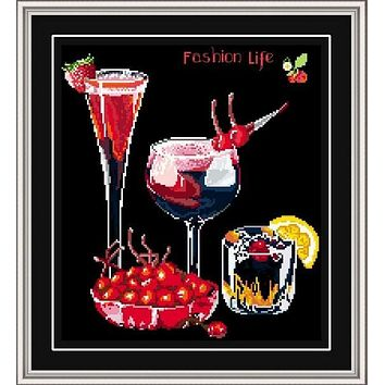 Wine berry fruit cross stitch kit black canvas counted aida 14ct 11ct hand embroidery DIY handmade needlework supplies bag