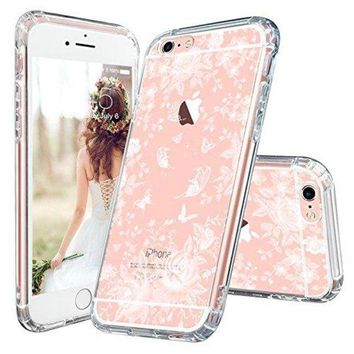 DCCKV2S iPhone 6s Case, iPhone 6 Slim Case, MOSNOVO White Roses Garden Floral Printed Flower Clear Design Plastic Back Hard Case with Soft TPU Gel Bumper Protective Case Cover for Apple iPhone 6 6s (4.7 Inch)