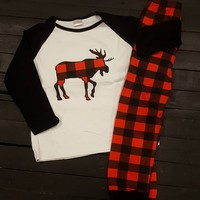 Buffalo Plaid Moose Pajamas