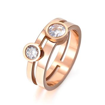 JeeMango Rose Gold Color Round Shape Double Cubic Zirconia Crystal Titanium Steel Engagement Wedding Rings For Women Gift R17061