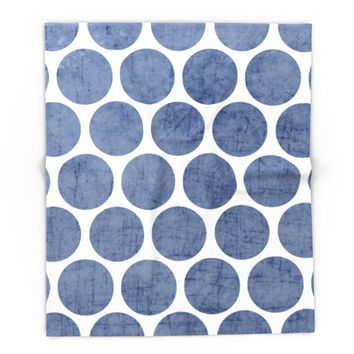 Society6 Blue Polka Dots Blanket