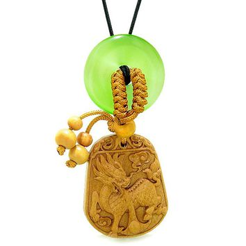 Lucky Dragon Car Charm Home Decor Green Simulated Cats Eye Lucky Coin Donut Protection Amulet