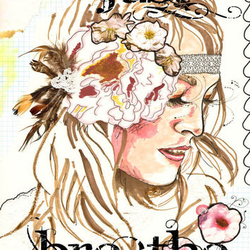 Just Breathe, giclee print, mixed media art, typographic print, bohemian art, bohemian girl, mixed media illustration, hippie gypsy decor
