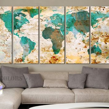 "XLARGE 30""x 70"" 5 Panels Art Canvas Print World Map Watercolor texture Old Wall Home ( framed 1.5"" depth)"