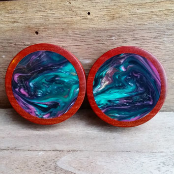 Pink Ivory Plug Pair with Abalone Resin Inlay | 1 5/8""