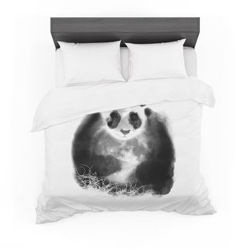 "Frederic Levy-Hadida ""Moon Catcher"" Black White Mixed Media Featherweight Duvet Cover"