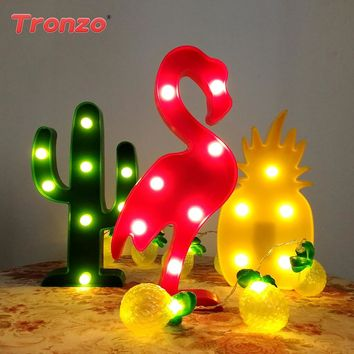 Tronzo Flamingo Decoration Flamingo Light Christmas Decorations For Home 3D Led Unicorn Night Lamp Unicorn Party Decoration Kids
