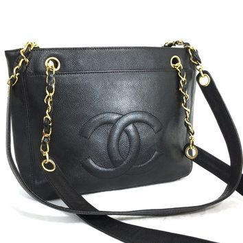CHANEL Caviar Black Timeless CC Two-Sided Chain Shoulder Bag