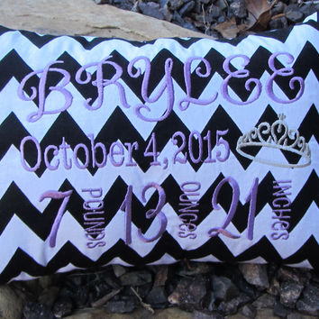 Birth Announcement Pillow - chevron baby pillow - monogrammed baby pillow -