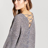 Lace-Up Sweater-Knit Top