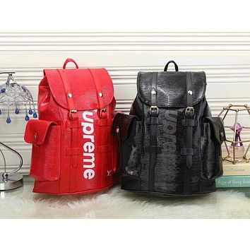LV x Supreme Fashion Leather Backpack Travel Bag Purse Wallet Card Bag Set Four-Piece